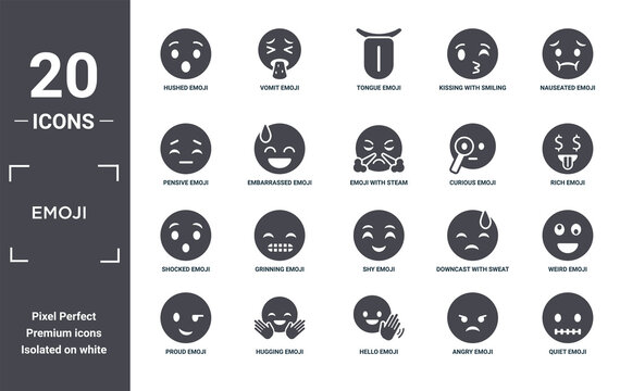 emoji icon set. include creative elements as hushed emoji, nauseated emoji, curious shy hugging shocked filled icons can be used for web design, presentation, report and diagram