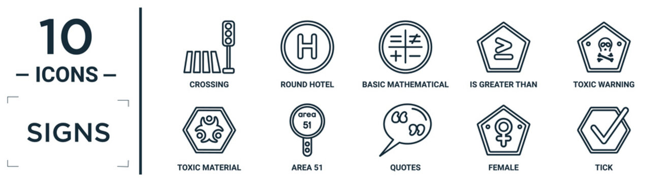 signs linear icon set. includes thin line crossing, basic mathematical, toxic warning, area 51, female, tick, toxic material icons for report, presentation, diagram, web design