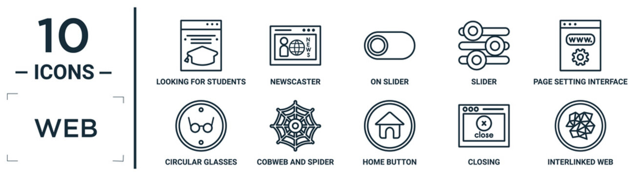 web linear icon set. includes thin line looking for students, on slider, page setting interface, cobweb and spider, closing, interlinked web, circular glasses icons for report, presentation,