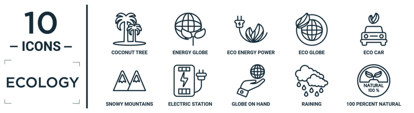 ecology linear icon set. includes thin line coconut tree, eco energy power, eco car, electric station, raining, 100 percent natural, snowy mountains icons for report, presentation, diagram, web