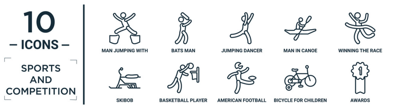 sports.and.competition linear icon set. includes thin line man jumping with opened legs, jumping dancer, winning the race, basketball player scoring, bicycle for children, awards, skibob icons for