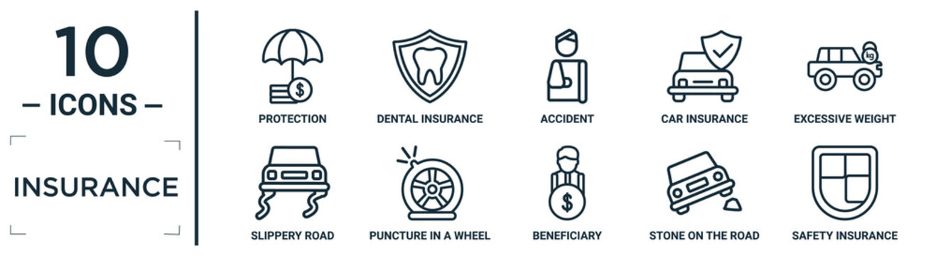 insurance linear icon set. includes thin line protection, accident, excessive weight for the vehicle, puncture in a wheel, stone on the road, safety insurance, slippery road icons for report,