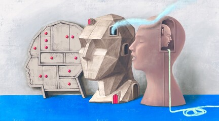 Conceptual art, concept artwork of life spiritual brain choice and psychology, surreal human heads 3d illustration, modern painting, minimal style