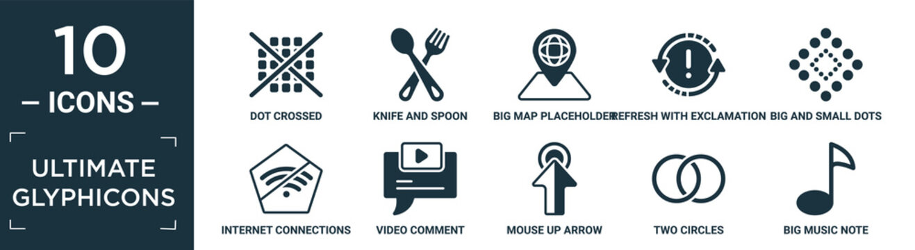 filled ultimate glyphicons icon set. contain flat dot crossed, knife and spoon crossed, big map placeholder, refresh with exclamation, big and small dots, internet connections off, video comment,.