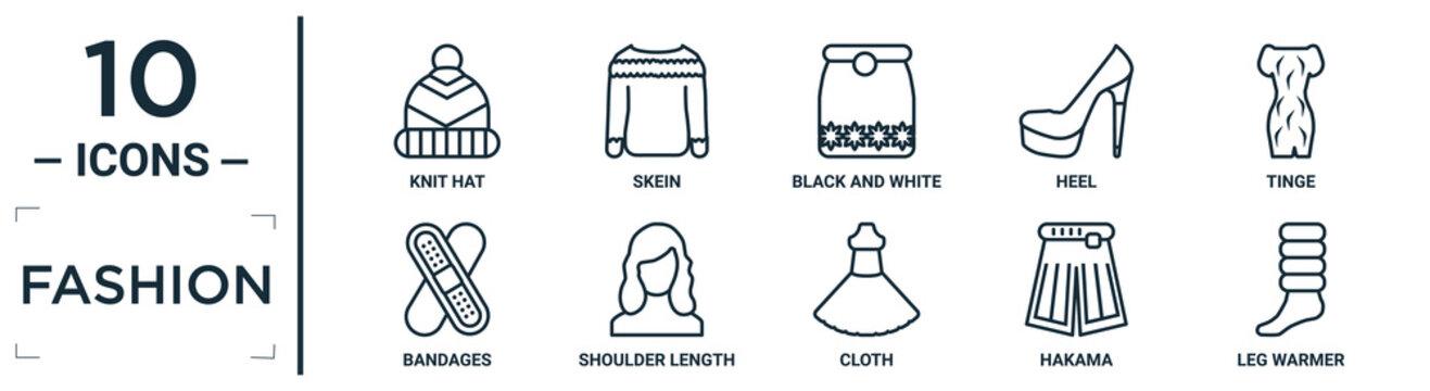 fashion linear icon set. includes thin line knit hat, black and white, tinge, shoulder length, hakama, leg warmer, bandages icons for report, presentation, diagram, web design
