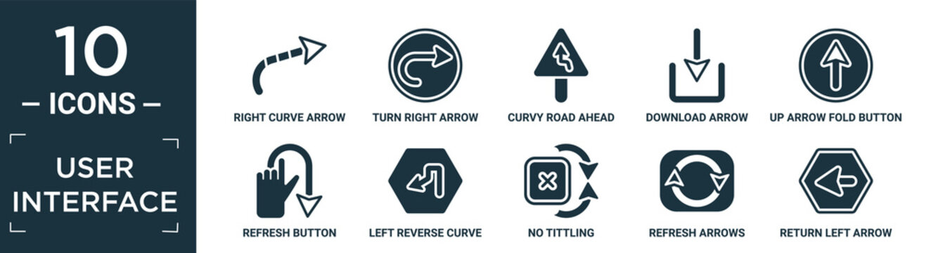 filled user interface icon set. contain flat right curve arrow, turn right arrow, curvy road ahead, download arrow, up fold button, refresh button, left reverse curve, no tittling, refresh arrows,.