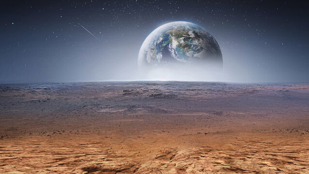 Earth planet in the sky over desert and stones. View on planet from Mars surface. Abstract sci-fi wallpaper. Elements of this image furnished by NASA