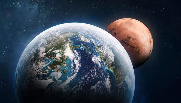 Earth and Mars collage. Planets in solar system. Voyage and exploration of Mars. Place for infographics. Elements of this image furnished by NASA