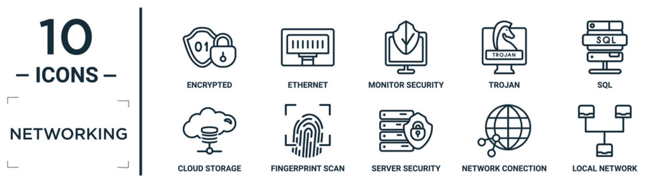 networking linear icon set. includes thin line encrypted, monitor security, sql, fingerprint scan, network conection, local network, cloud storage icons for report, presentation, diagram, web design