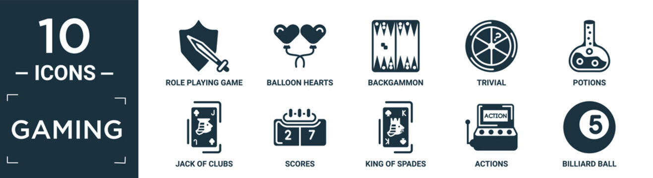 filled gaming icon set. contain flat role playing game, balloon hearts, backgammon, trivial, potions, jack of clubs, scores, king of spades, actions, billiard ball icons in editable format..