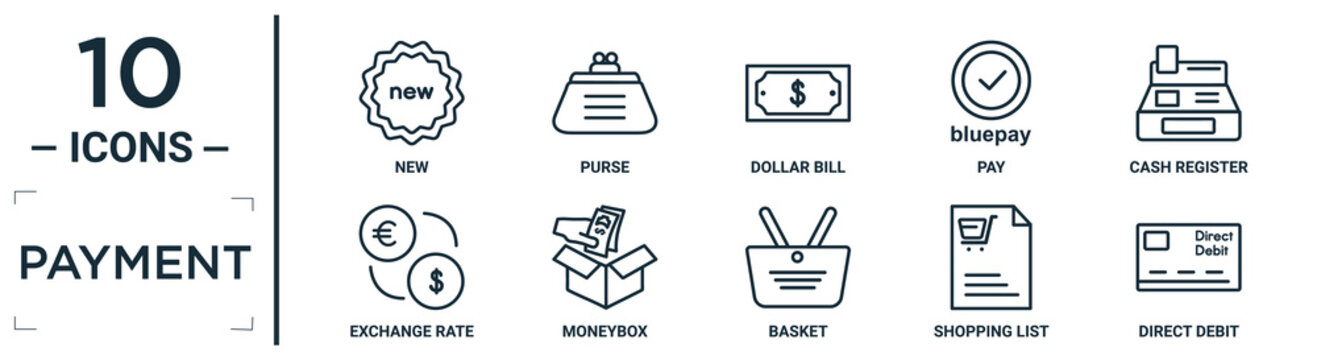 payment linear icon set. includes thin line new, dollar bill, cash register, moneybox, shopping list, direct debit, exchange rate icons for report, presentation, diagram, web design