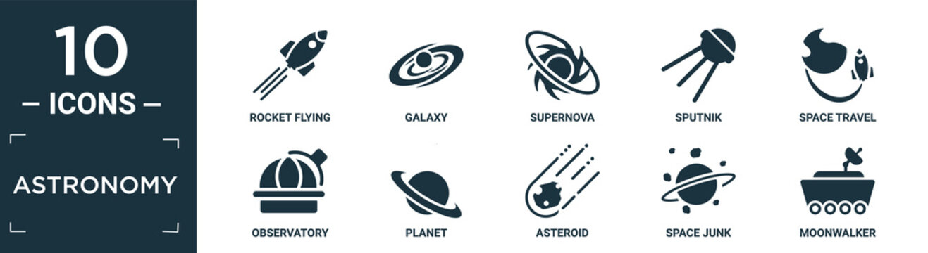 filled astronomy icon set. contain flat rocket flying, galaxy, supernova, sputnik, space travel, observatory, planet, asteroid, space junk, moonwalker icons in editable format..
