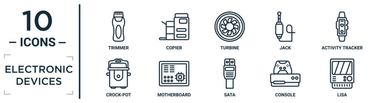 electronic.devices linear icon set. includes thin line trimmer, turbine, activity tracker, motherboard, console, lisa, crock-pot icons for report, presentation, diagram, web design