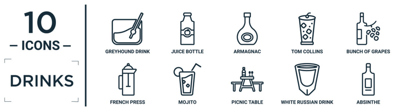 drinks linear icon set. includes thin line greyhound drink, armagnac, bunch of grapes, mojito, white russian drink, absinthe, french press icons for report, presentation, diagram, web design