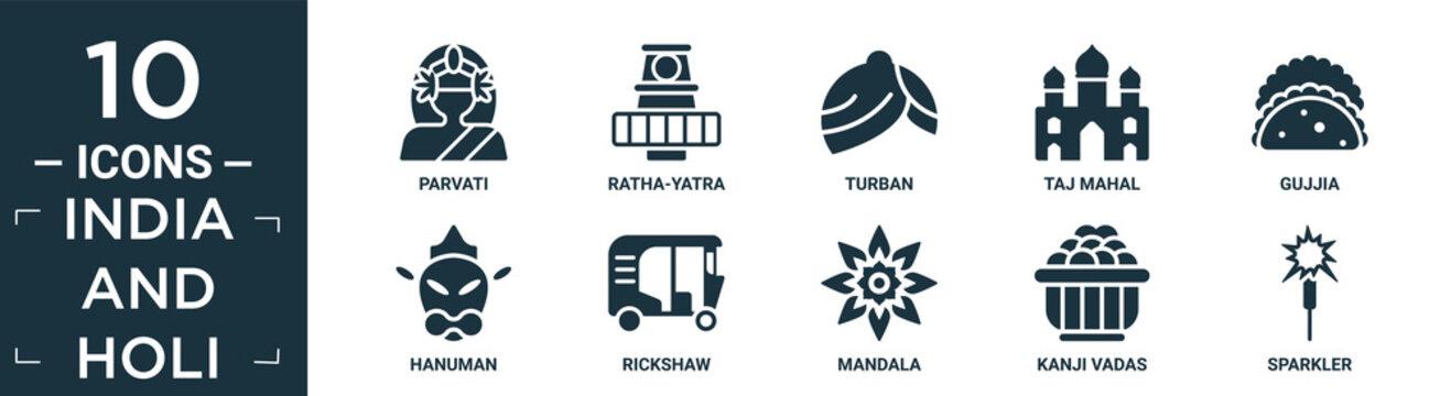filled india and holi icon set. contain flat parvati, ratha-yatra, turban, taj mahal, gujjia, hanuman, rickshaw, mandala, kanji vadas, sparkler icons in editable format..