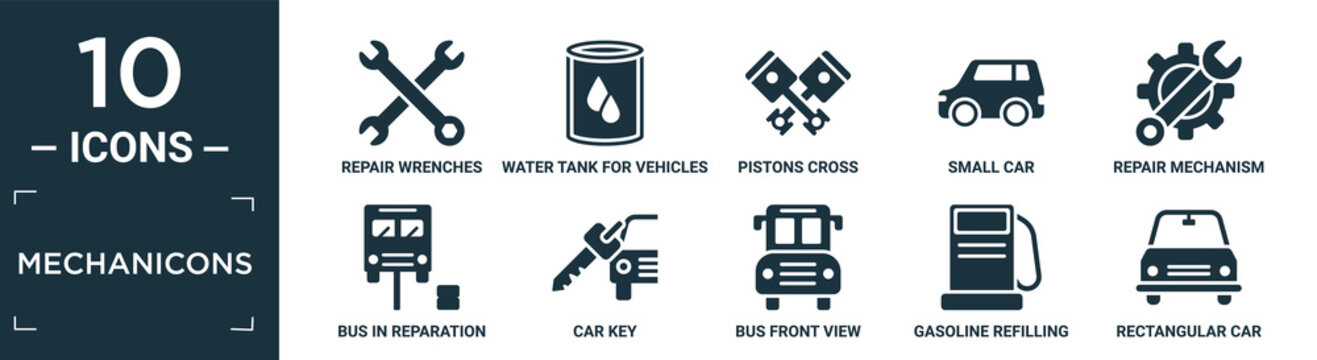 filled mechanicons icon set. contain flat repair wrenches, water tank for vehicles, pistons cross, small car, repair mechanism, bus in reparation, car key, bus front view, gasoline refilling.