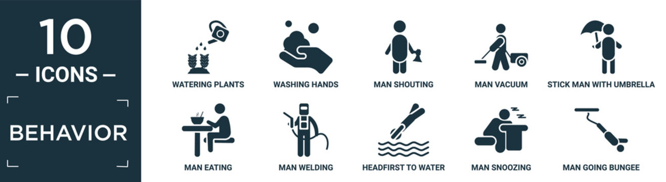 filled behavior icon set. contain flat watering plants, washing hands, man shouting, man vacuum, stick man with umbrella, eating, welding, headfirst to water, snoozing, going bungee jumping icons in.