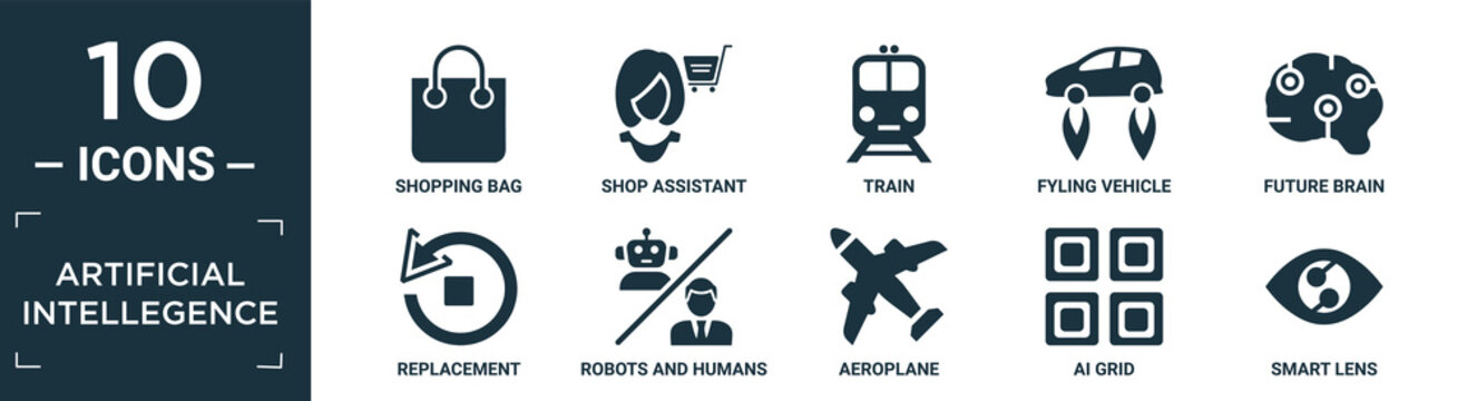 filled artificial intellegence icon set. contain flat shopping bag, shop assistant, train, fyling vehicle, future brain, replacement, robots and humans, aeroplane, ai grid, smart lens icons in.