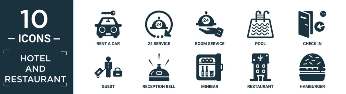 filled hotel and restaurant icon set. contain flat rent a car, 24 service, room service, pool, check in, guest, reception bell, minibar, restaurant, hamburger icons in editable format..