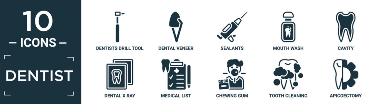 filled dentist icon set. contain flat dentists drill tool, dental veneer, sealants, mouth wash, cavity, dental x ray, medical list, chewing gum, tooth cleaning, apicoectomy icons in editable format..