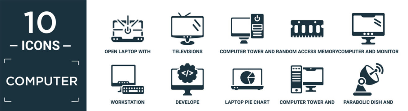 filled computer icon set. contain flat open laptop with shining screen, televisions, computer tower and monitor, random access memory chip, computer and monitor, workstation, develope, laptop pie.