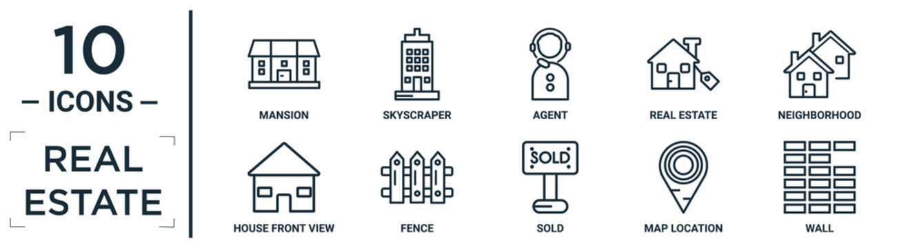 real.estate linear icon set. includes thin line mansion, agent, neighborhood, fence, map location, wall, house front view icons for report, presentation, diagram, web design