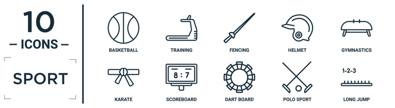 sport linear icon set. includes thin line basketball, fencing, gymnastics, scoreboard, polo sport, long jump, karate icons for report, presentation, diagram, web design