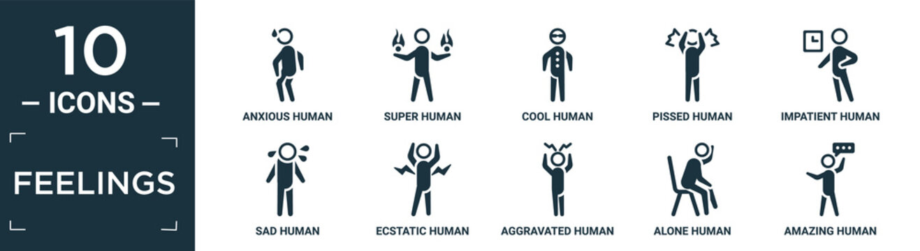 filled feelings icon set. contain flat anxious human, super human, cool human, pissed impatient sad ecstatic aggravated alone amazing icons in editable format..