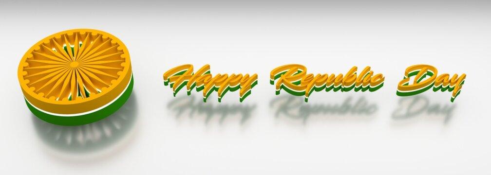26th January with 3d Ashoka Chakra effect Happy Republic Day 3d Illustration