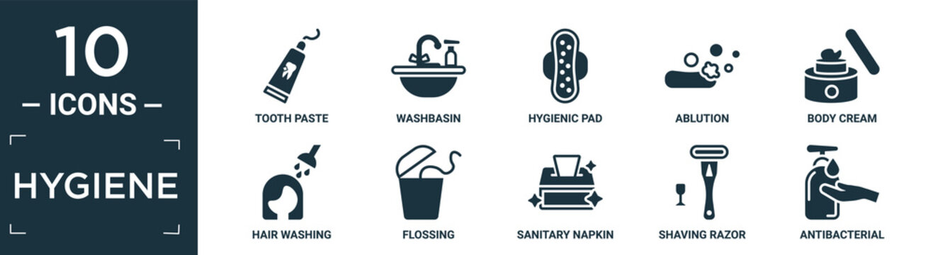 filled hygiene icon set. contain flat tooth paste, washbasin, hygienic pad, ablution, body cream, hair washing, flossing, sanitary napkin, shaving razor, antibacterial icons in editable format..