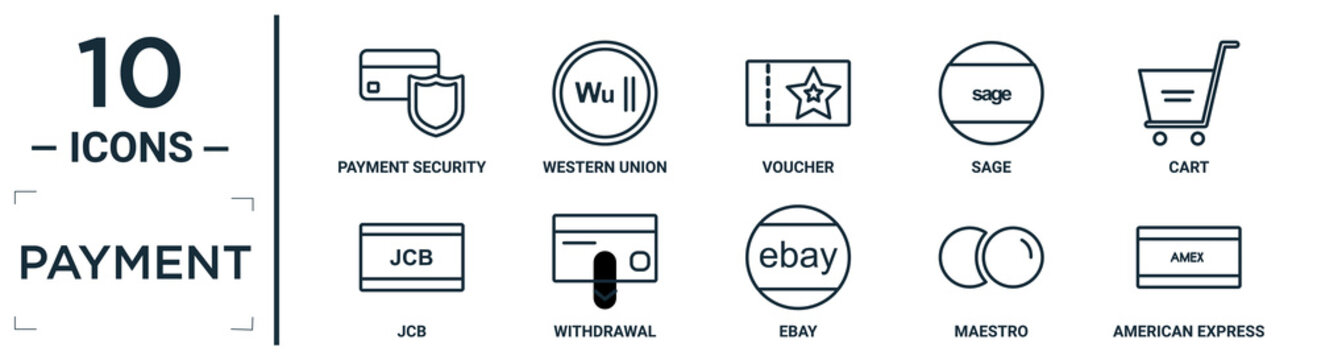 payment linear icon set. includes thin line payment security, voucher, cart, withdrawal, maestro, american express, jcb icons for report, presentation, diagram, web design