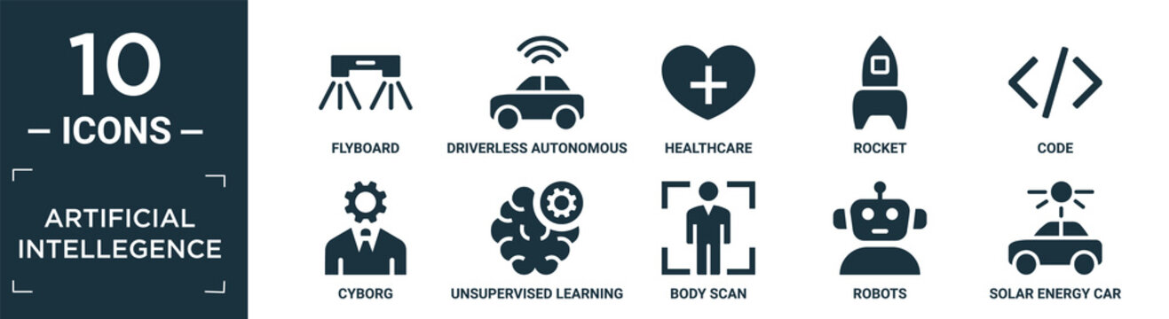 filled artificial intellegence icon set. contain flat flyboard, driverless autonomous car, healthcare, rocket, code, cyborg, unsupervised learning, body scan, robots, solar energy car icons in.