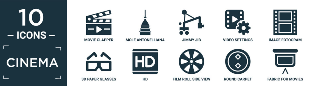 filled cinema icon set. contain flat movie clapper, mole antonelliana in turin, jimmy jib, video settings, image fotogram, 3d paper glasses, hd, film roll side view, round carpet, fabric for movies.