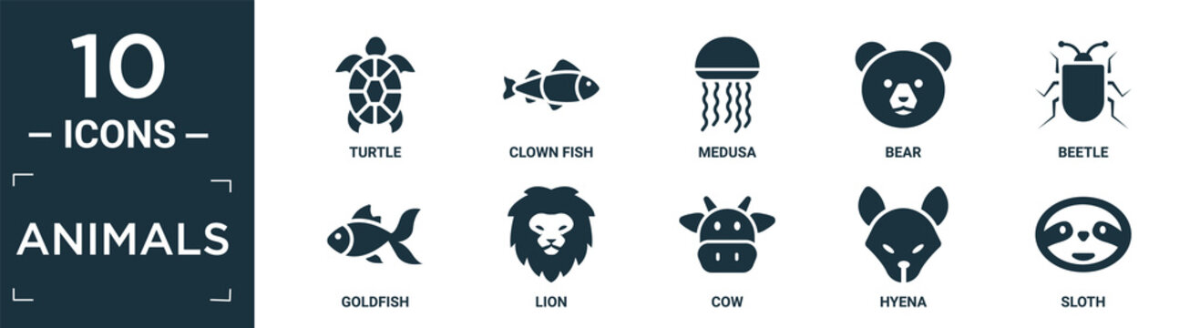 filled animals icon set. contain flat turtle, clown fish, medusa, bear, beetle, goldfish, lion, cow, hyena, sloth icons in editable format..