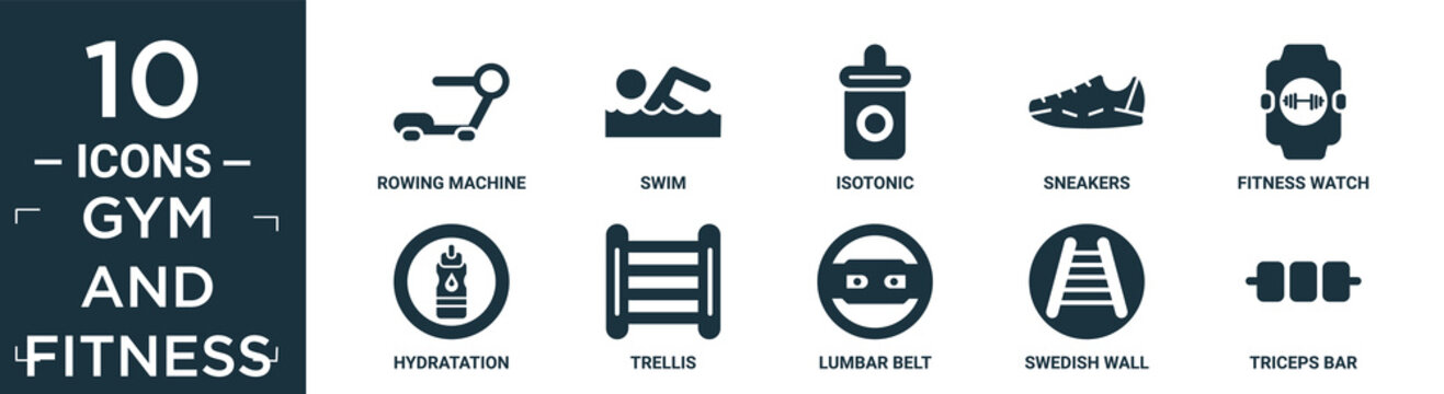 filled gym and fitness icon set. contain flat rowing machine, swim, isotonic, sneakers, fitness watch, hydratation, trellis, lumbar belt, swedish wall, triceps bar icons in editable format..