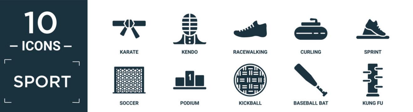 filled sport icon set. contain flat karate, kendo, racewalking, curling, sprint, soccer, podium, kickball, baseball bat, kung fu icons in editable format..