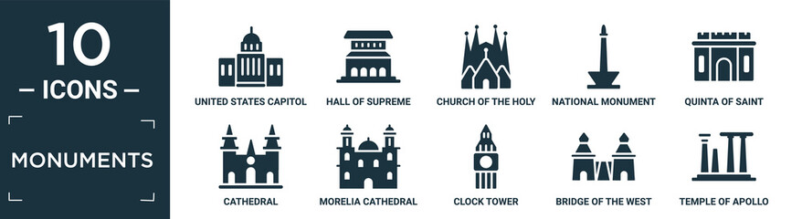 filled monuments icon set. contain flat united states capitol, hall of supreme harmony in beijing, church of the holy family, national monument monas, quinta of saint peter alexandria, cathedral,. Wall mural