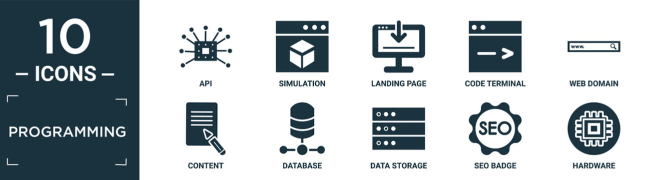filled programming icon set. contain flat api, simulation, landing page, code terminal, web domain, content, database, data storage, seo badge, hardware icons in editable format..