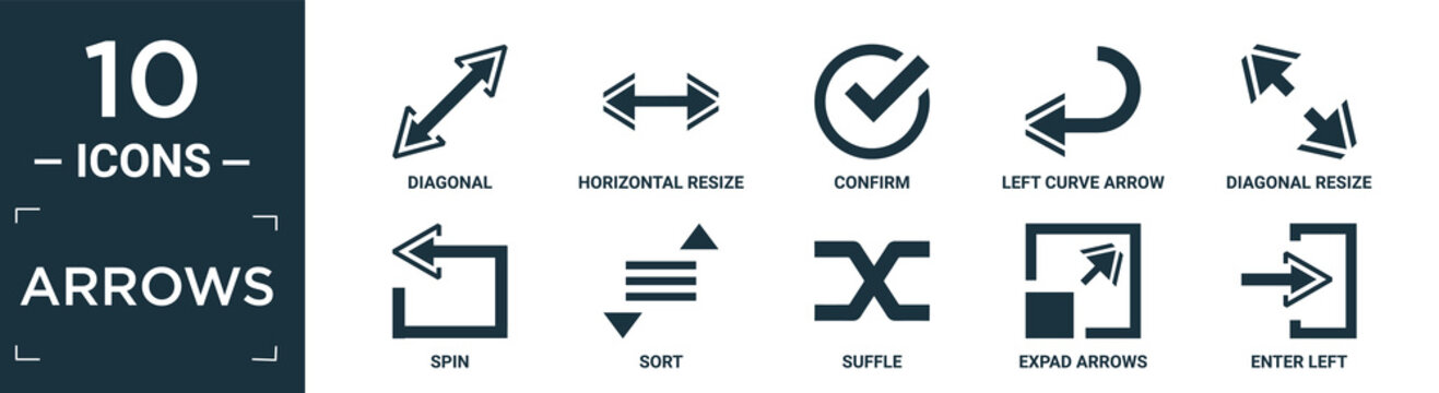 filled arrows icon set. contain flat diagonal, horizontal resize, confirm, left curve arrow, diagonal resize, spin, sort, suffle, expad arrows, enter left icons in editable format..