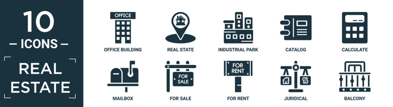 filled real estate icon set. contain flat office building, real state, industrial park, catalog, calculate, mailbox, for sale, for rent, juridical, balcony icons in editable format..