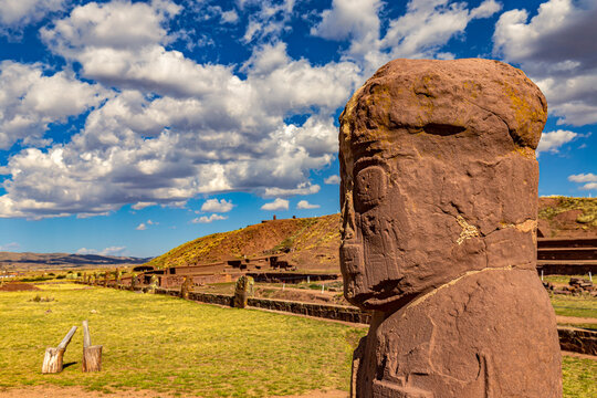 Bolivia. Tiwanaku (or Tiahuanaco) - Pre-Columbian ancient and sacred site on a list of the UNESCO World Heritage Site. Statue 'el Fraile' (the monk) and platform of Kalasasaya (temple)