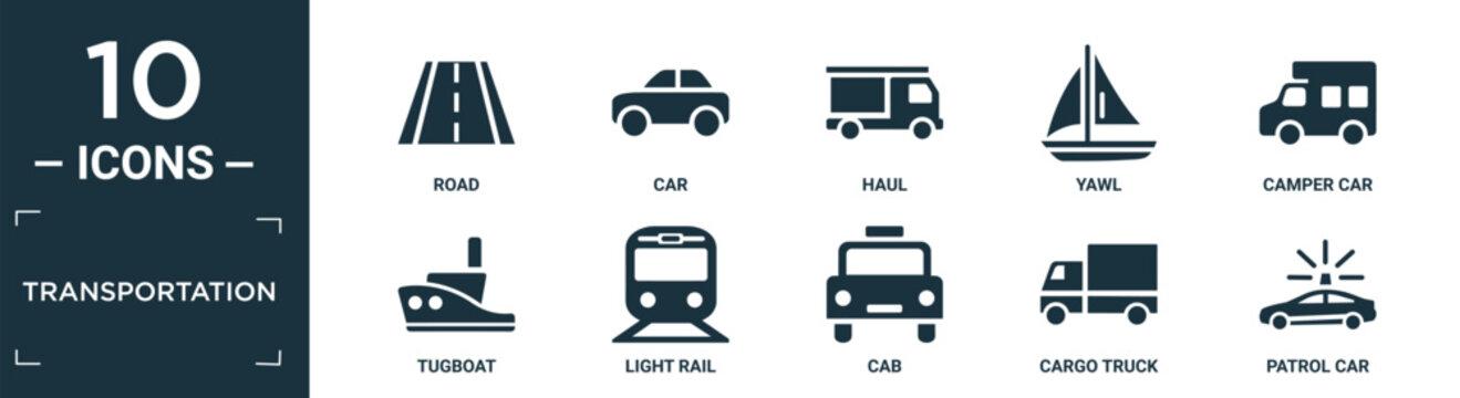 filled transportation icon set. contain flat road, car, haul, yawl, camper car, tugboat, light rail, cab, cargo truck, patrol car icons in editable format..