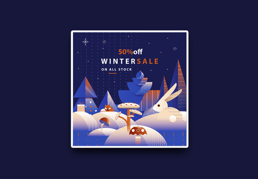 Square Christmas Sale Flyer Layout with Decorative Winter Forest