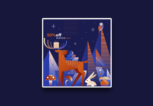 Square Christmas Sale Flyer Layout with Reindeer and Hare