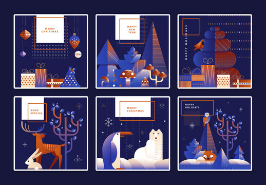 Square Christmas Greeting Card Layout with Forest Animals