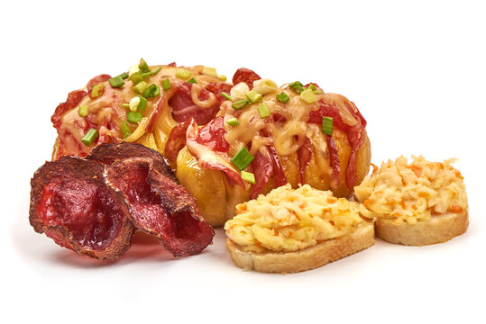 Stuffed baked potatoes with cheese and salami, loaded potato, isolated on white background