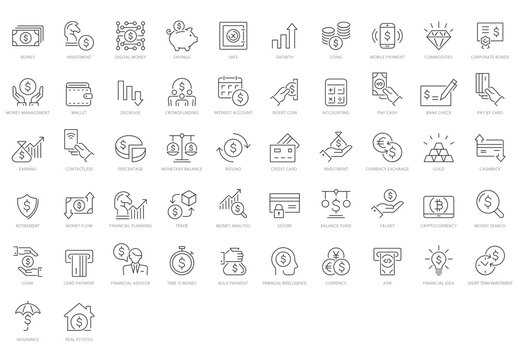 Money and Valuables Icon Set