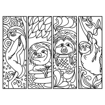 Set of coloring bookmarks with sloth, cute wild animal coloring page for kids and adults, for school or kindergarten