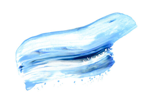 Hand drawn brush smear isolated on white. Dark blue and light blue colors. Wave shape art stroke