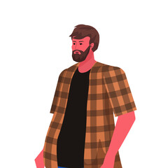 Wall Mural - young man in casual clothes bearded guy male cartoon character portrait vector illustration
